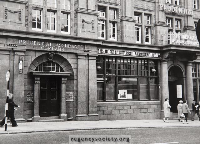The original Prudential Assurance Company's Offices, just east of King Street, about 1962. Built to the design of Waterhouse in the favoured red brick and terracotta this was a substantial building which housed many other small offices. Erected in 1906 it had a life of just over 60 years, being demolished in 1967 | Image reproduced with kind permission of The Regency Society and The James Gray Collection