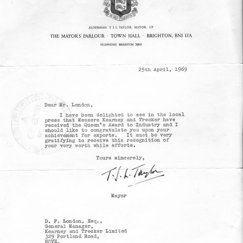 Queens Award Letter from the Mayor of Brighton | From the private collection of Steve Hussey