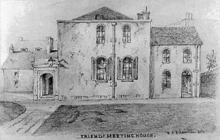 The Quaker Meeting House, Ship Street, Brighton. The first Meeting House had been an old Malt House in New Road dating back to 1716. | Sketch by W.A Delamonte, 1853