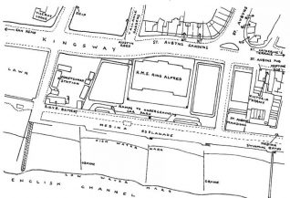 Map showing the location of the RNR Battery and HMS King Alfred in 1942. Click on photo to open large image in new window. | Published with permission from Hove Library