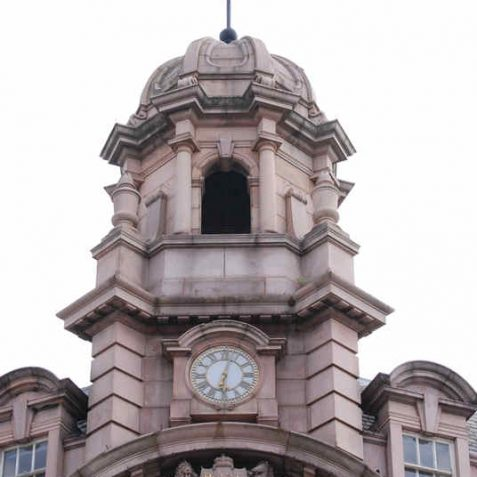 Royal Insurance company building detail of the large clock, cupola and weather vane | Photo by Tony Mould