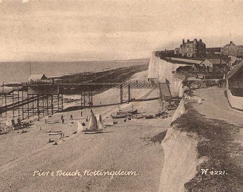 The beach at Rottingdean, date unknown; the tracks of the Rottingdean Railway and its landing stage are clearly visible in this picture. | Fro the private collection of Tony Drury