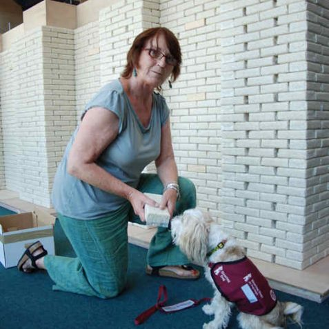 Margot Bristow, volunteer artist and her hearing dog Piggle | Photo by Tony Mould