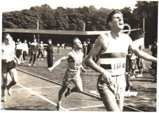 Roy Taylor finishing second in a mile race at Withdean, 5.9.59 | From the private collection of Roy Taylor