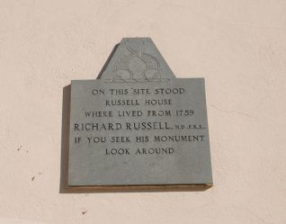 Plaque on the wall of the Royal Albion Hotel   Photo by Tony Mould
