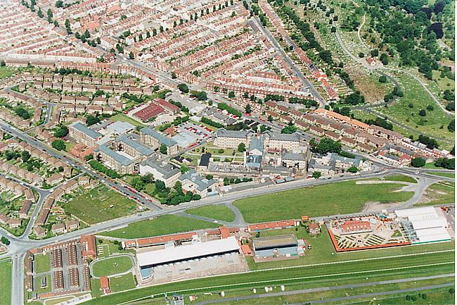 Aerial view of the Racecourse and Brighton General Hospital, 1991 | by Ian McKenzie, from private collection
