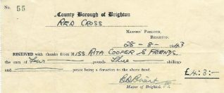 Receipt issued by Alderman Bernard Dutton Briant, Mayor of Brighton 1943 | From the private collection of Rita Denman