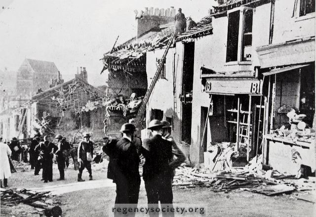 Damage resulting from a 500kg bomb which hit Albion Hill at around 15:30 on 24th September 1940, striking a Butcher's shop on the corner with Ashton Street and killing the occupant, William Chubb | Image reproduced with kind permission of The Regency Society and The James Gray Collection