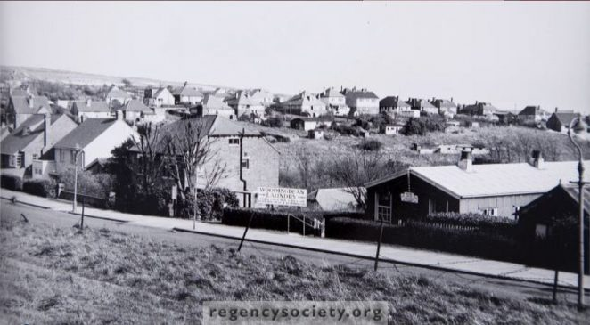 View across Warren Road to the Ridgway, 1954. This was just before the post-war building boom in Woodingdean gathered momentum. | Image reproduced with kind permission of The Regency Society and The James Gray Collection