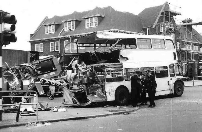 The damaged bus photographed outside the White Horse Hotel in Rottingdean. | Photo courtesy of The Evening Argus