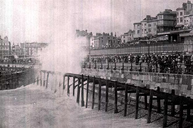 Rough sea at Brighton, breaking over Volks Electric Railway | Scanned from an original copy of '67 Views of Brighton, Hove and Neighbourhood', circa 1910, by kind permission of David Burgess