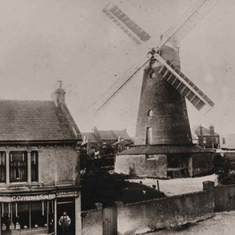 Tower Mill showing the shop of Charles Cuttress, founder of Forfars Bakery: date unknown but pre-1914 | From a private collection