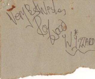 Roy Wood of Wizzard autograph | From the private collection of Paul Clarkson