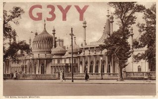Cyril Fairchild's blank QSL card, showing the Royal Pavilion | Contributed to Letter in the Attic by Beryl Payne and Hazel Fairchild