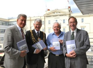 Author Harry Gaston, (2nd right) with Mayor Garry Peltzer Dunn at the book launch
