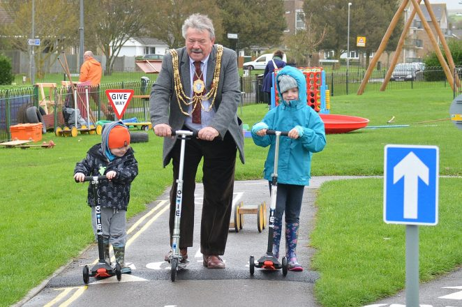 The Mayor and friends at the scooter training event | Photo by Tony Mould