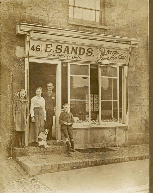 Fish Shop c1920 46 North Street, Portslade, (Edgar Sands c.50yrs old, Martha Sands 50yrs old, Louisa Sands c12yrs and Edgar Jnr. c10yrs, | From the private collection of Martha Hooper