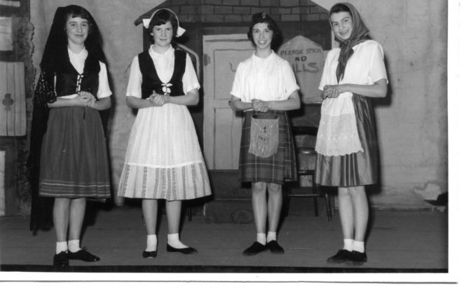 The Little Goose Girl - 1960; a group of 4 who can all be found in the whole cast photo on Sandra's original page | From the private collection of Geoff Robbins