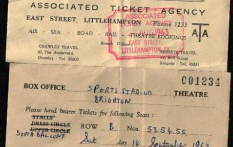 Tickets for the ice rink, 1963