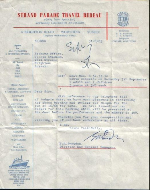 Receipt for tickets   From the private collection of Liam Mandville