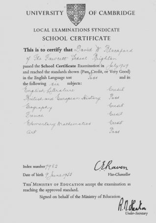 School certificate, July 1949 | Photo from the private collection of David Blackford