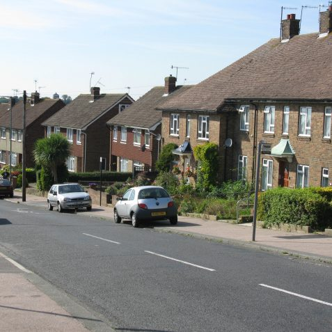Sherbourne Road, the old railway ran through the gap between the first 2 houses, centre of photo | Photo by Peter Groves