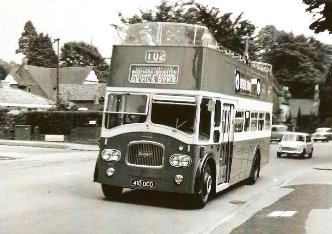 Southdown 410, a convertible open-topper, passes Cedars Gardens on London Road on a summer Sunday bound for Devil's Dyke | From the private collection of Martin Nimmo