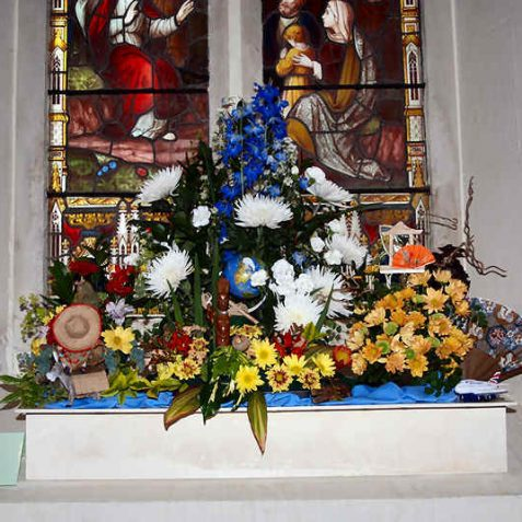 St Christopher, patron saint of travel: Arranged by Pat Deeley for Patcham District Trefoil Guild | Photo by Tony Mould