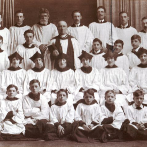 Choir of St George's Church around 1918-1920. Back row, third from right is Harry Pattison. Second row, second from right is Jessie (Pat) Pattison | From the private collection of Pam Manasseh