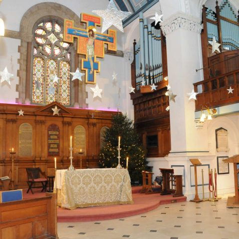 St George's Church Kemp Town, decorated for Christmas | Photo by Tony Mould