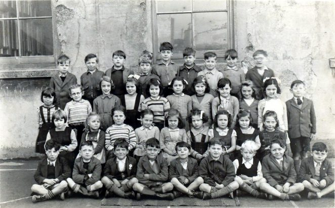 About 1950/51 in playground, I am back row 1st on left, Janet Hill middle row 3rd from left   From the private collection of C. West