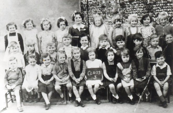 Class 3 probably 1948/49 (I am middle row 2nd from rt.) in the playground   From the private collection of C. West