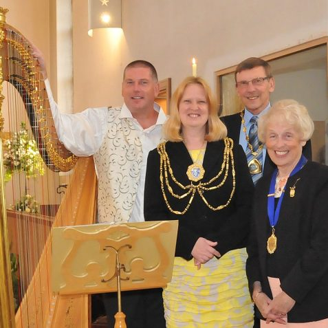 Harpist Andrew Ballantyne, The Mayor of Brighton and Hove, Councillor Anne Meadows, The Mayor and Mayoress of Telscombe, Councillor John and Mrs Helen Livings | Photo by Tony Mould