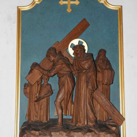 The stations of the cross are in relief