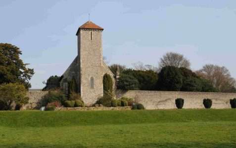 Downland church built of local flint rubble