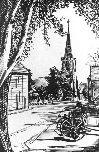 Stanmer Village | Drawing by Bob Herrick