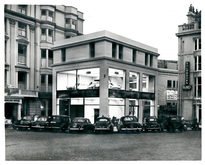 Taken in late 1950s, at that time the building was owned by Hartley & Midgley, main Ford dealers for Brighton and Hove. | From the private collection of Christopher Wrapson