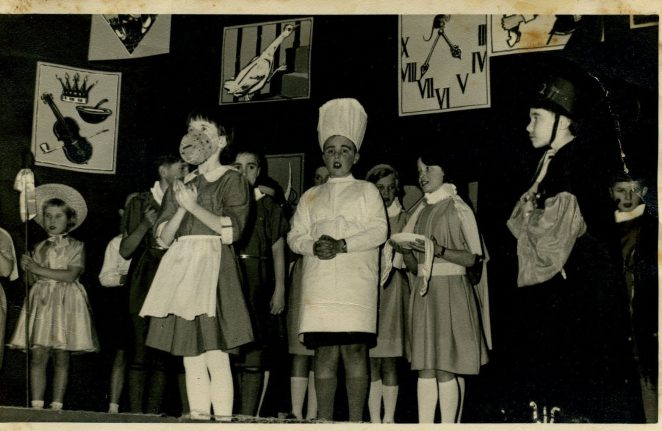 My sister Stephanie Burns (with the cake) - St. Joseph's school play - 1960's | From the private collection of Penny Hajduk