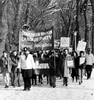 Student march at The Level 1986: click on the image to open a larger version | Reproduced with courtesy of The Argus