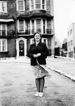 Barbara Hopkins (Nee Sugden) outside 14 Royal Crescent in the 1950s.   From the private collection of Barbara Hopkins