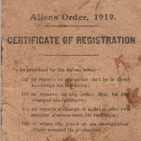 Alien registration | From the private collection of Jane Hanick