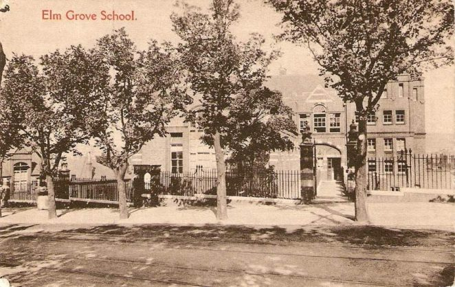 This is actually a postcard photo of Elm Grove School about 1910 with Elm Trees that look quite young | From the private collection of Dennis Parrett