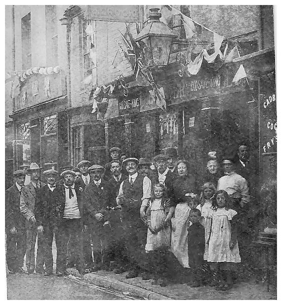 John Crook with his wife and daughter, and some of his customers c1911 | From the private collection of Hazel Hedley