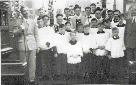 Choir, Servers and Vicar c1952
