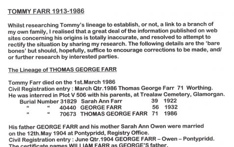 Lineage of T.G. Farr 1913-1986