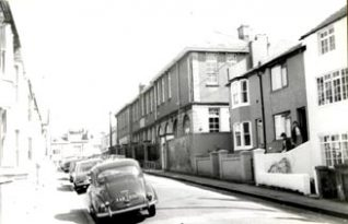 Looking north along Hanover Terrace: school building on the right   Photo by Roger Bateman