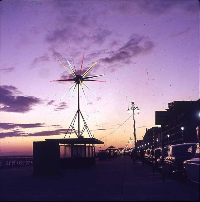 Sputnik looking west. Part of the seafront illuminations in 1967. Photo by Peter Allison