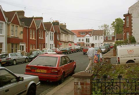 The junction of Shanklin Road and Bembridge Street, Brighton, where Eric Feast remembers playing as a child. | Photo taken 14 May 2001