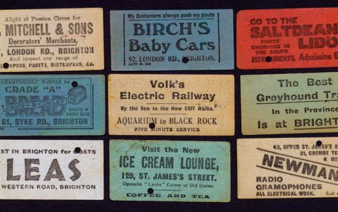 1930s shop adverts on Brighton tram tickets