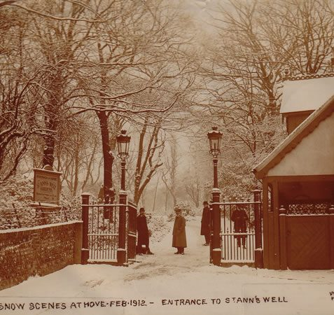 Entrance to St Ann's Well Gardens under snow in February 1912 | Image reproduced with permission from Brighton History Centre